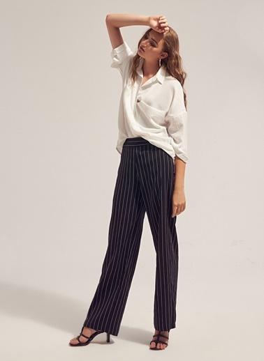 Monamoda Çizgili Bol Pantolon Siyah